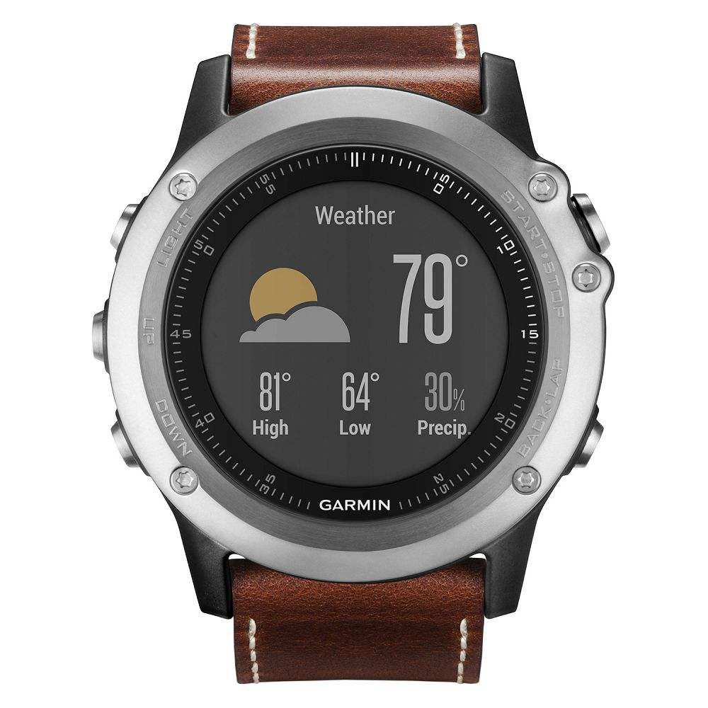 Garmin fenix 3 Sapphire Silver / Leather Band HRM Bundle
