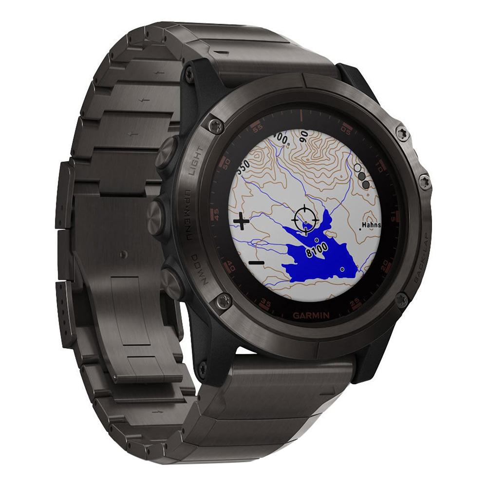 Garmin fenix 5X Plus Sapphire, Carbon Gray Titanium / Titanium Band