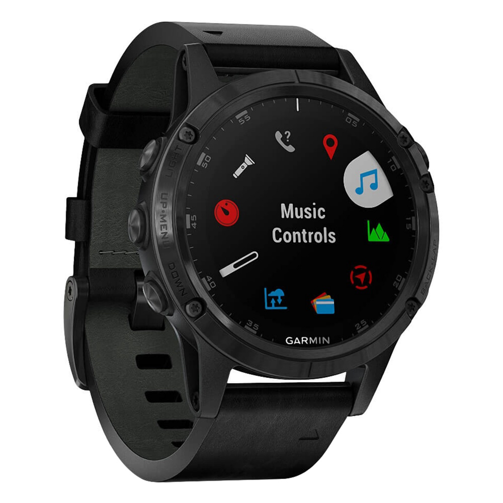 Garmin fenix 5 Plus Sapphire, Black / Black Leather Band